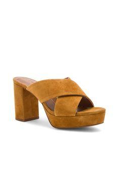5ac7825ef Lola Cruz Cross Front Mule in Mustard Yellow