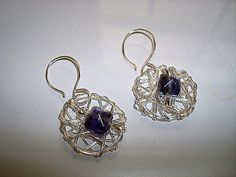 Dangle Earrngs Abstract Wire Circle with by CrookedCrystal on Etsy, $11.99