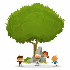 Crianças que jogam em torno de uma árvore