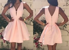 Charming Short Pink Homecoming Dress Ruched with Deep V-neck Sleeveless,Sweetheart dress