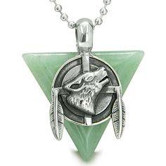 Amulet Arrowhead Howling Wolf Dreamcatcher Green Quartz Pendant 18 Inch Necklace