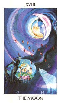 XVIII The Moon - Deck: Tarot of The Spirit by Pamela Eakins, Ph.D Artist: Joyce Eakins A beautiful tarot deck / Embodied Divination Cards, Tarot Cards, Moon Deck, The Moon Tarot Card, Le Tarot, Tarot Major Arcana, Tarot Card Meanings, Cartomancy, Tarot Card Decks