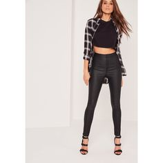 Missguided Petite Vice High Waisted Coated Skinny Jeans (265 DKK) ❤ liked on Polyvore featuring jeans, black, high rise jeans, high waisted denim skinny jeans, high rise skinny jeans, highwaist jeans and skinny jeans