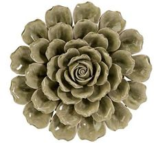 "Magdalyn Green Ceramic 13"" Round Flower Wall Art 