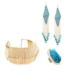 Turquoise statement earrings and ring with solid color gold cuff