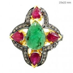 Gemstone Emerald Ruby Ring 925 Silver Diamond Pave 14k Gold Vintage Look Jewelry