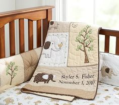 Organic Baby Elephant Nursery Quilt #pbkids