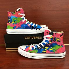610e91e7efd5 Original Colourful Splashed Ink Converse All Star Hand Painted Canvas  Sneakers. Painted Sneakers