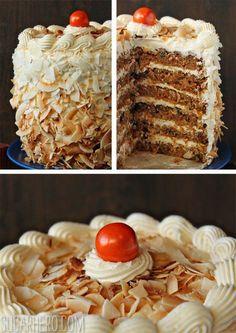 Carrot Cake with Coconut Cream Cheese Buttercream | SugarHero.com