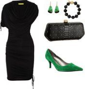 Wear for work: asymmetric stretch jersey dress with green daring accessories.