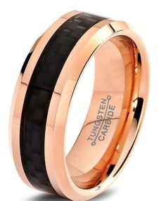 18K rose gold ring crafted out of the finest tungsten carbide available. Designed with beveled edges drawing the eye towards the black woven carbon fiber inlay going through the center of the tungsten