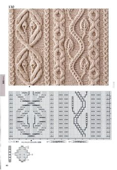 Cable lace braid flower leaf leaves knit stitch patterns with chart Мобильный LiveInternet 260 Knitting Pattern Book by Hitomi Shida Cable Knitting Patterns, Knitting Stiches, Knitting Charts, Easy Knitting, Knitting Designs, Knit Patterns, Knitting Projects, Stitch Patterns, Gilet Crochet