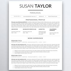 Legal Resume Template For Word  Pages  Lawyer Resume  Attorney