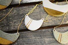 22k Gold Striped HalfWave Nautical by PorcelainAndStone on Etsy