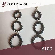 Stainless steel black cultured Pearl Earrings 4 inch long hanging stainless steel & black cultured pearl earrings Jewelry Earrings