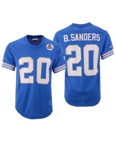 d25c7a576d0 Mitchell & Ness Men's Barry Sanders Detroit Lions Mesh Name and Number  Crewneck Jersey - Blue L