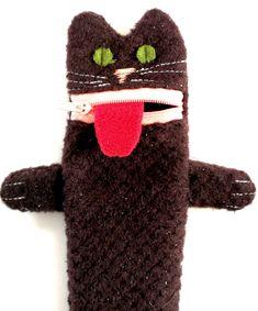 Brown cat with hands pencil case pet gift childrens pen pet gift irish coffee brown cat pencil case childrens pen organizer woolen negle Images