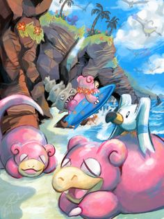 SLOWPOKE BEACH    as a kid, I had a huge group of slowpoke in Silver version. I liked to imagine them relaxing on a beach and surfing all day.    Pokemon Fan Art