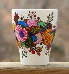 Hand Painted Coffee Mug Organic Abstract by RileyMicaDesigns, $12.00
