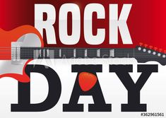 Calendar with traverse electric guitar and plectrum in the letter 'A', announcing Rock Day celebration. Rock N Roll, Illustration, Celebration, Calendar, Electric, Guitar, Lettering, Logos, Day
