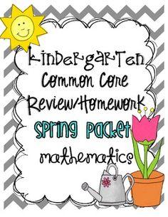Kindergarten Spring Common Core Review/Homework Packet!  3 Homework calendars and review sheets$ Kindergarten Homework, Kindergarten Math Activities, Educational Activities For Kids, Common Core Preschool, Creative Teaching, Teaching Ideas, Math Classroom, Classroom Ideas, Math Strategies