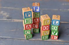 Vintage Childrens Wooden Alphabet Block Christmas Ornaments by LilyMairi