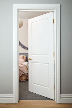 The norsuHOME - Annabel's Bedroom Door Paint: Dulux Tranquil Retreat & Vivid White door + trims Door: Corinthian Doors