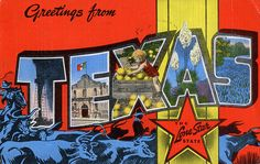 Greetings from Texas, The Lone Star State - Large Letter Postcard by Shook Photos, via Flickr