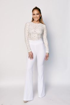 Jennifer Lopez wearing Rachel Zoe Germain Pants, Misha Collection Kiley Bodysuit and Giuseppe Zanotti Sharon Crystal Open Toe Pumps