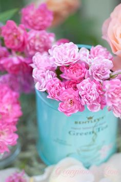 ❥ turquoise and pink flowers~ photo: Georgianna Lane, 2009