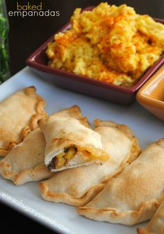 Easy baked chicken empanadas with Cheesy Saffron rice