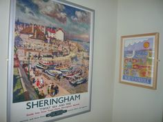 Vintage railway poster and print from local artist Andrew Ruffhead Railway Posters, Holiday Apartments, Coastal Art, Local Artists, Magnolia, Gallery Wall, Cottage, Frame, Painting