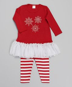 Loving this Red & White Snowflake Tunic & Leggings on #zulily! #zulilyfinds