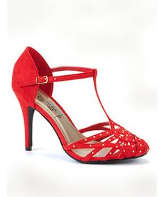 Red Stud T-Bar Heel Courts - New Look price: £24.99