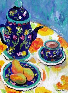 Tea Pot and Pears Still Life Painting 12 x 16 Original art by Elaine Cory. $88.00, via Etsy.