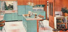 A great aqua appliance and cabinet filled 1958 kitchen from General Electric. #vintage #1950s #kitchen