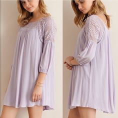 🏆HOST PICK🏆Lilac & Lace Dress Lace upper border and crisscross straps upper back dress. Fully lined. Flow fit and feminine. This dress is also available in ivory color. Brand new w/o tags for boutique retail. No trades, no holding no offsite/App payment.       🗣 PRICE IS FIRM, no offers entertained                    💙 Bundle and save 💚 Dresses Mini