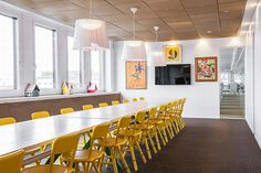 Office, Large Modern Conference Room In Inspiring Beautiful Modern Office Also Yellow Chair And Hanging Lighting Design: Beautiful Modern Office Renovation in Stockholm Office Furniture Design, Room Interior Design, Office Decor, Stockholm, Home Design Magazines, La Sede, Office Interiors, House Design, Beautiful