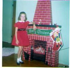 Vintage Cardboard Fireplace from the Next best thing to a real fireplace. Christmas Time Is Here, Christmas Makes, Christmas Past, Christmas Items, Christmas Holidays, Christmas Decorations, Vintage Christmas Photos, Xmas Photos, Retro Christmas