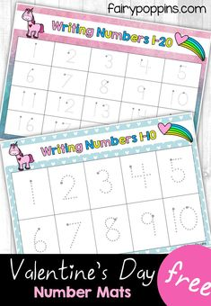 These free number mats are awesome for kids learning numbers up to 20! They feature a cute Valentine's Day unicorn theme. ~ Fairy Poppins
