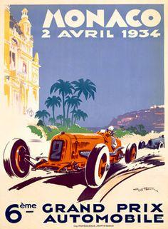 1934 Monaco Grand Prix F1 Race Poster