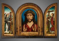 Albrecht Bouts: Triptychon mit Christus mit Dornenkrone und zwei Engeln mit Leidenswerkzeugen
