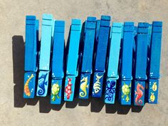 10 OCEAN CLOTHESPINS Sea Creatures hand painted magnets party favors by SugarAndPaint on Etsy