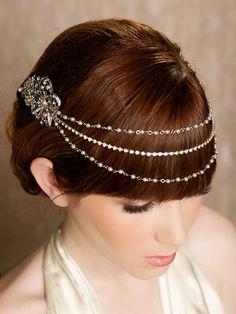 Silver Pearl and Rhinestone Headband, Crystal Headband, crystal tiara, Bridal Halo, bridal Headpiece, crystal headpiece - Theresa Design