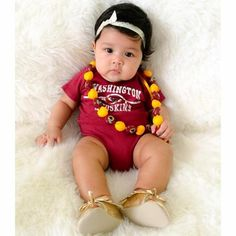 Such a cute gameday outfit for this little #Redskins fan. #HTTR
