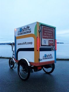 Shift Urban Cargo Delivery in Vancouver Canada Food Cart Design, Food Truck Design, Mini Cafeteria, Mobile Kiosk, Electric Cargo Bike, Velo Cargo, Bike Food, Bike Trailer, Bikes For Sale
