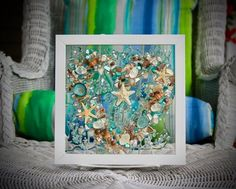 This adorable, seashell heart wall hanging is the perfect gift for someone who has a love for the beach. The tiny seashells are carefully arranged on the clear glass then a clear resin is poured over the top. The resin not only bonds the shells to the glass, but also gives the illusion of water over Coastal Christmas Decor, Nautical Christmas, Coastal Wall Art, Beach Wall Art, Blue Wall Decor, Seashell Art, Nautical Nursery, Heart Wall, Beach House Decor