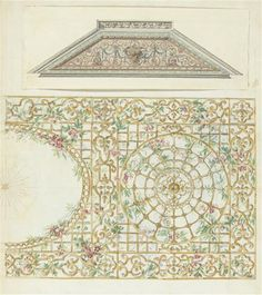 grand palais, trellis of flowers, fragment of ceiling sketch
