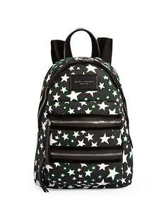 Marc Jacobs Star-print Backpack In Black-white Mini Backpack, Black Backpack, Fashion Backpack, Marc Jacobs, Backpacks, Stars, Leather, Mini Backpack Purse, Sterne