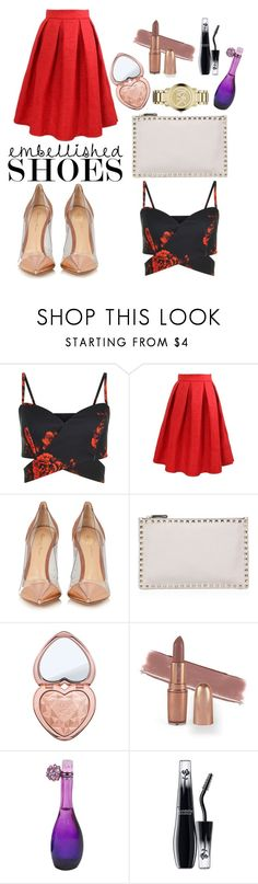 """Embellished Shoes"" by blujeanx ❤ liked on Polyvore featuring WithChic, Gianvito Rossi, Valentino, Too Faced Cosmetics, Jennifer Lopez, Lancôme and Michael Kors"